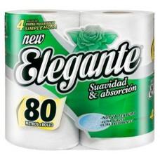 Papel Higiénico Blanco 80 Mts Elegante x 4 Rollos
